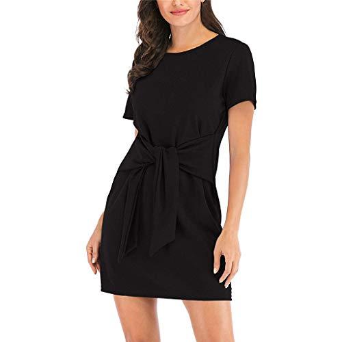 Damen-Minikleid, kurzärmelig, Rundhalsausschnitt, einfarbig, mit Knotenmotiv, Schwarz / Weinrot / Violett Gr. XL, Schwarz