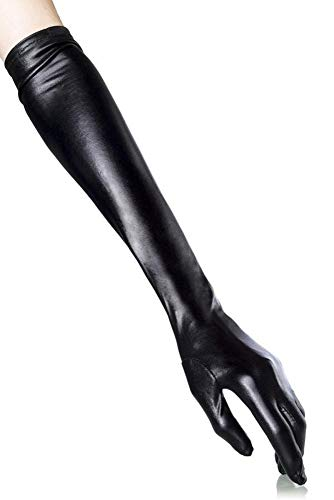 EROSPA Wetlook-Handschuhe lang - 48 cm - Damen - Schwarz