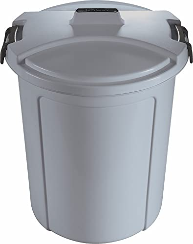 Sterling Ventures Heavy Duty Plastic Garden Waste Rubbish Dust Bin with Locking Lid 23L (Grey)