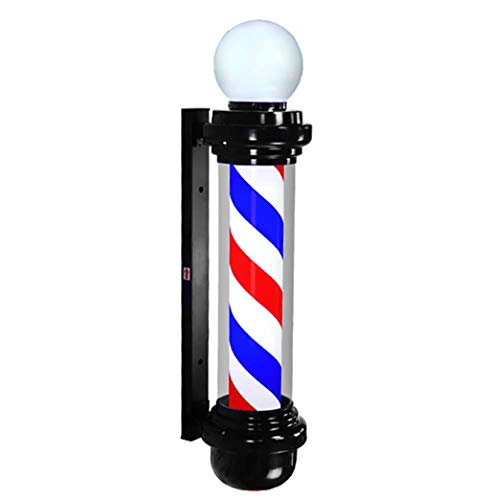 NYTYU Barbershop LED Barbers Pole Rosso Bianco Blu Hair Salon Logo Impermeabile Rotante Light Salon Shop Sign Outdoor Applique,100cm