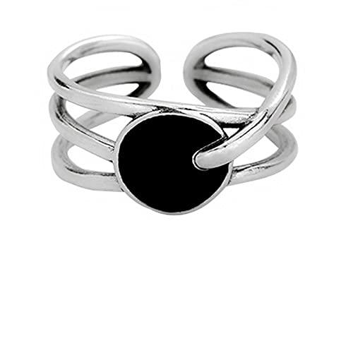 Anillo de línea apilable irregular de Plata de Ley 925 redondo negro para mujer, anillos de diseñador simples ajustables, joyería de moda
