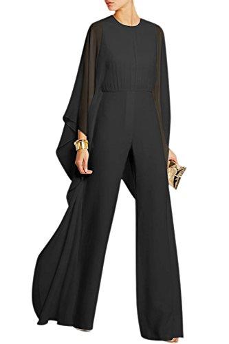 Yacun Tailleur Pantalon Femme Veste Combinaison Chic à Manches Longues en Mousseline de Soie pour Noir S
