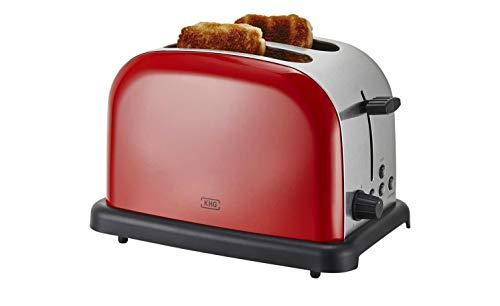 KHG Toaster Edelstahl 2 Scheiben Retro Rot Bräunungskontrolle Aufsatz Farbe Dunkel Rot-edelstahlfarben-Schwarz