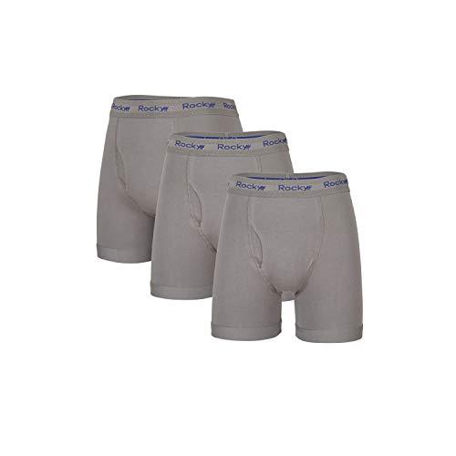 Rocky Herren Boxershorts, 3 Stück, Baumwolle, klassisch, weich gestrickt, Stretch - Mehrfarbig - XX-Large