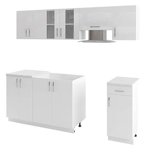 vidaXL Küchenzeile 7-TLG. Weiß Dunstabzugshaube Küche Einbauküche Küchenblock