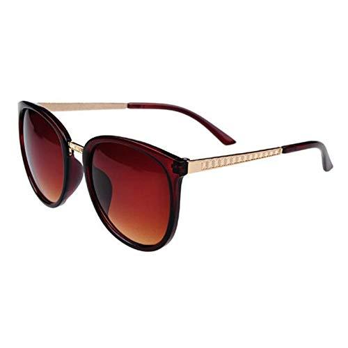 PrittUHU Gafas de Sol Redondas de Gran tamaño Mujeres de Lujo con Gafas de Moda Grandes Tonos de Sol Gafas de Sol Retro (Lenses Color : Tea)