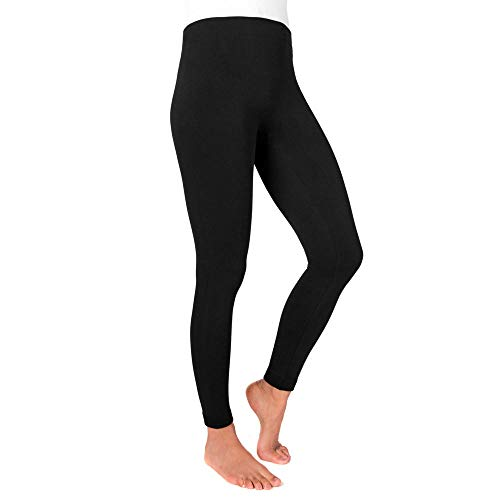 MUK LUKS womens Women's Solid Fleece Leggings Hosiery, Black, X-Large-XX-Large US
