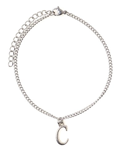 It's All About...You! 7.5 - 9.5 Stainless Steel Ankle Bracelet with Alloy Initial Letter C 49C