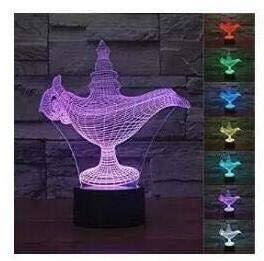 Lámpara Mágica De Aladino 3D, Lámpara De Ilusión Óptica, 7 Colores Que Cambian, Acrílico, Mesa Táctil, Luz Nocturna, Dormitorio De Niños, Regalo De Cumpleaños
