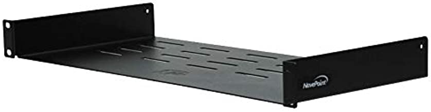 NavePoint Universal Rack Tray Vented Shelves 1U Black 8 Inches (210mm deep) No Lip