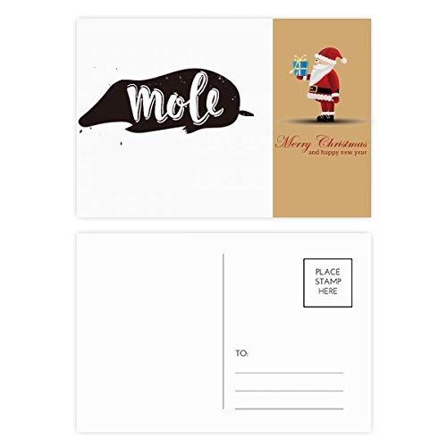 Mole zwart en wit dier kerstman ansichtkaart Set Thanks kaart mailen 20 stks