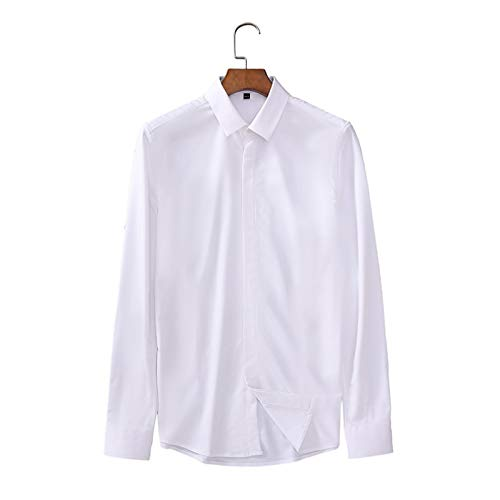 Men's Solid Color Business Casual Basic Long-Sleeved Shirt Fashion Office Work Classic Lapel Slim Fit Versatile Shirts XXL White