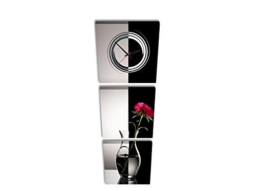 PROXTA Quadrato Orologio de Parete Fiore Rosso in Vaso con Orizzontale Wate in Bianco e Nero