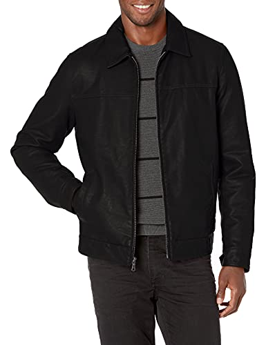 Tommy Hilfiger Men's Big and Tall Classic Faux Leather Jacket, black, LT