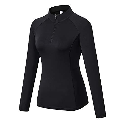 WOWENY Damen 1/4 Reißverschlus Pullover Laufshirt Langarm, Atmungsaktive Funktionsshirt Sportshirt Fitness Shirt (Schwarz, M)