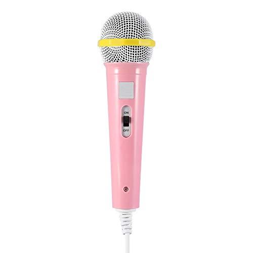 Eboxer Micrófono de Juguete Musical Infantil,Micrófono con Conexión de Cable de 3,5 mm Karaoke Portátil Regalo para Niños(Rosa)