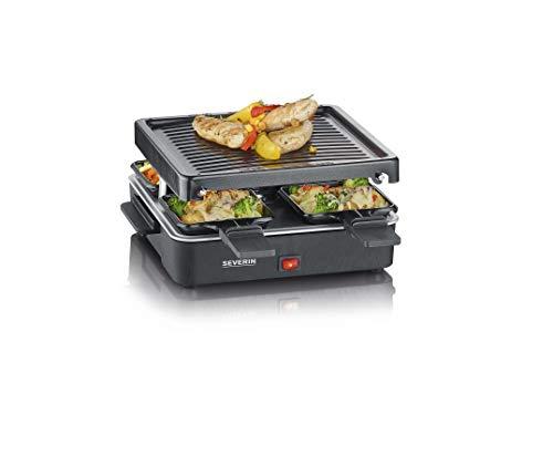 Severin Mini Raclette-Grill, kleines Raclette mit antihaftbeschichteter Grillplatte und 4 Raclette Pfännchen, Tischgrill für bis zu 4 Personen, 600 W Leistung, schwarz