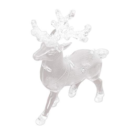 ABOOFAN - Figura de reno de cristal transparente acrílico para decoración de Navidad