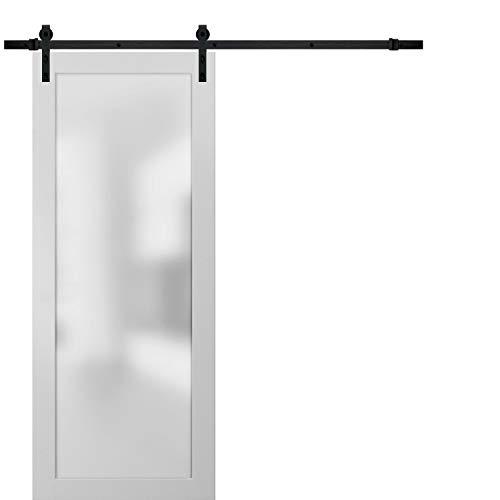 of sliding doors Sliding Lite Barn Frosted Glass Door 18 x 84   Planum 2102 White Silk   6.6FT Rail Hangers Stops Hardware Set   Modern Solid Core Interior Door Eco-Veneer
