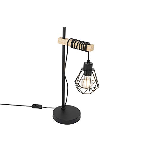 QAZQA rústico Landelijke tafellamp zwart met hout - Chon Acero/Madera Alargada Adecuado para LED Max. 1 x 40 Watt