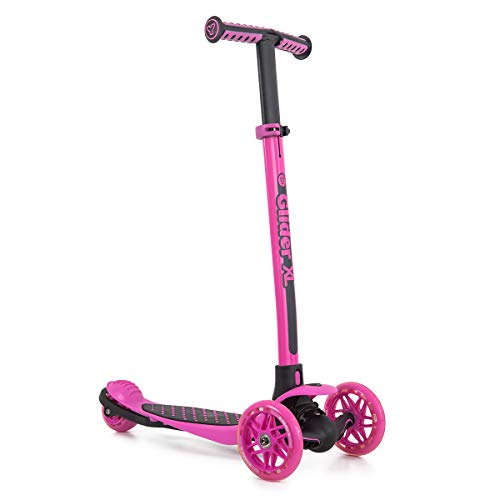 Yvolution Y Glider XL | 3 Wheeled Scooter for Boys and Girls Age 3-8 Years | Extra-Wide Deck (Pink)