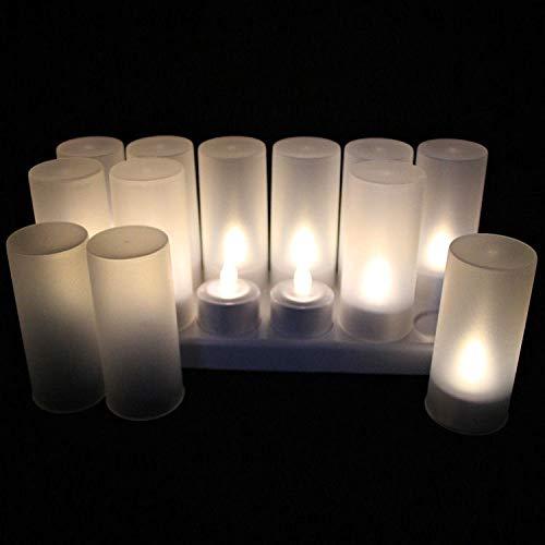 Al aire libre Conjunto de 12 recargable sin llama llevado boda luz del té Lámpara de la vela de Navidad barra del grupo mesa Inicio decoración de colorido Temporizador ( Color : WARM WHITE )