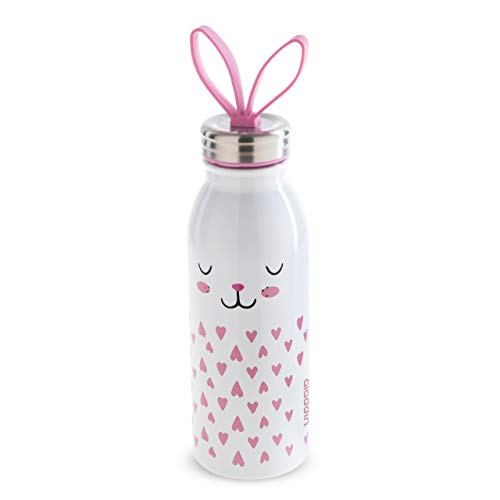 Aladdin Zoo Thermavac Stainless Steel Water Bottle Thermosflasche, Edelstahl, Hase, 0,43 Liter
