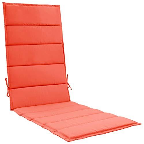 vidaXL Cojín de Tumbona Sillas de Jardín Almohada Cabezal de Sofá Asiento con Respaldo Alto de Exterior Terraza Aire Libre Patio Tapizados Rojo 190x60x3 cm