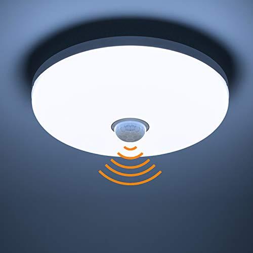 Yafido Lámpara de Techo con Sensor de Movimiento PIR 18W 360° 1620Lm Blanco Frío (6500 K) Luces de Seguridad Para el Pasill Sótano Escaleras Ø15cm