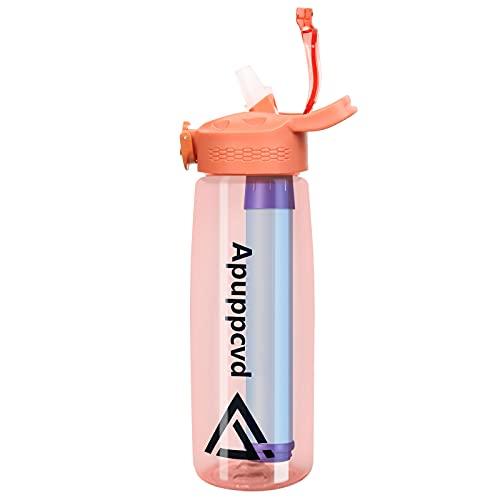 Apuppcvd Botella Agua Deporte, 650 ml Tritan Ecologica con Filtro Botella reutilizable, Sin BPA Colador Extraíble para Bidon Ciclismo,Gimnasia, Yoga, gimnasio,A pie y Viajes(Naranja)