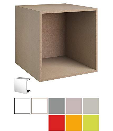 stocubo - Probepaket für modulares Regalsystem für Bücher, Schallplatten, Aktenordner und DVDs, naturfarbenes MDF mit Farbmustern