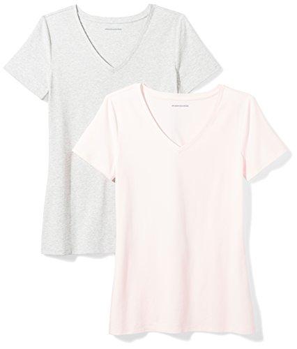 Amazon Essentials Camiseta de manga corta clásico con cuello en V, Mujer, Rosa (Rosa Claro/Gris Claro Jaspeado.), L, pack de 2