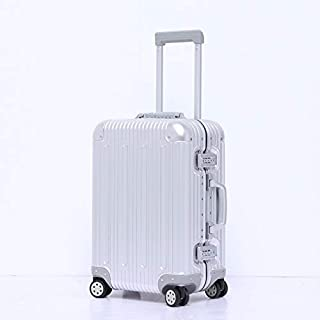 WHPSTZ All Aluminum Magnesium Alloy Suitcase 20 Inch Business Trolley Case Luggage Universal Wheel Travel Luggage Password Leather Box All Aluminum Trolley case (Color : Grey, Size : 20 inches)