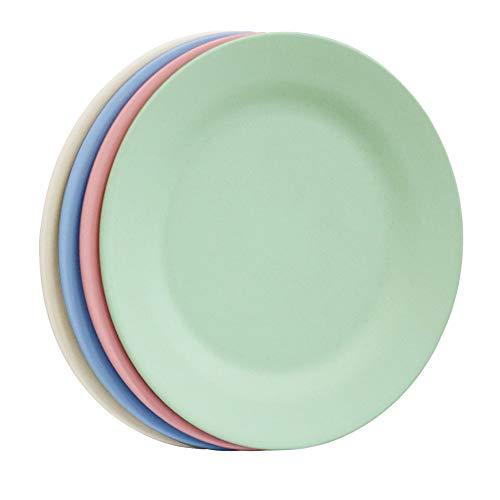Plato de cena de pasta liviana de 11 pulgadas, platos de ensalada de paja de trigo irrompibles, plato de postre reutilizable, vajilla extra grande para servir para niños y adultos (28 cm, 4 colores)