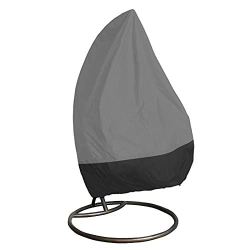 KTYXGKL Funda Silla Colgante del Patio, Fundas para sillas de Columpio de Huevo, Muebles de Exterior Impermeables Silla Colgante Cubierta con Cremallera (Color : Gray Black, Size : 190X115cm)