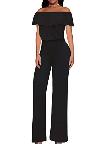 Hybrid & Company Women High Waist Wide Leg Pants Jumpsuit Romper KPVJ47696 Black XL