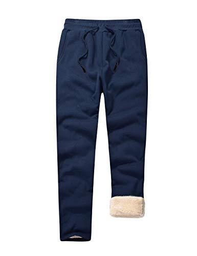 Snoly - Pantalones de invierno para hombre con forro polar térmico, azul (2#BLUE), X-Small