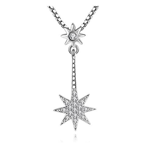 YURG Joyería de Plata Señoras Mans octagonales Collar Colgante Zircón de Lujo Femenino Colgante Cadena Longitud 45 cm (Size : X-Small)