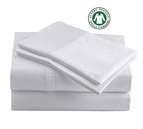 "100% Organic Cotton High Rise Queen-Sheets Set, 4-Piece Pure Organic Cotton Long Staple Percale Weave Ultra Soft Best Bedding Sheets for Bed, Breathable, GOTS Certified, Fits Mattress Upto 15"" Deep"