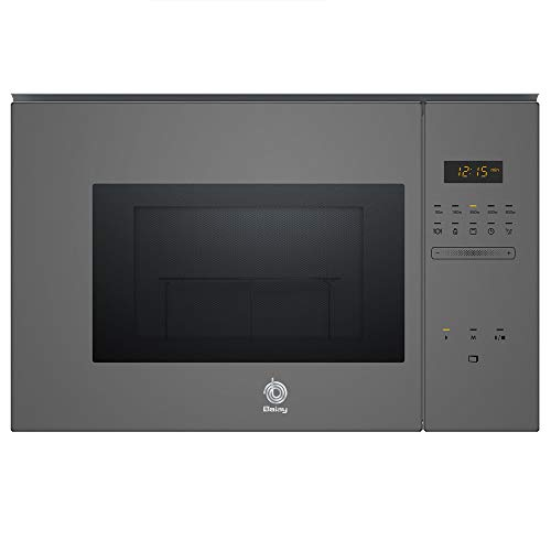 Balay, 3CG5172A0 - Microondas integrable Serie Cristal, 20L, 800W, Grill 1000W, Control táctil, Color gris antracita