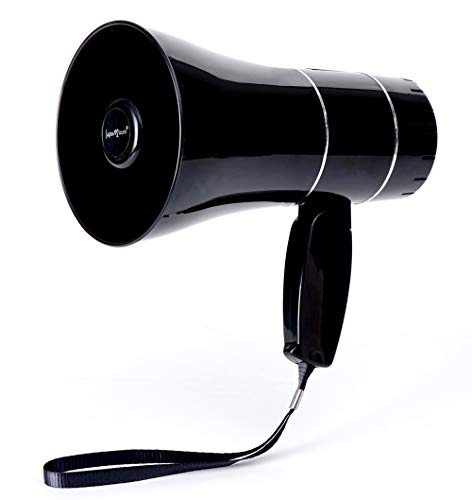 japomizuno Bullhorn/Rechargeable Megaphone Speaker with 240's Recording,Siren,U-Disk Player,Rechargeable Battery Included (Black)