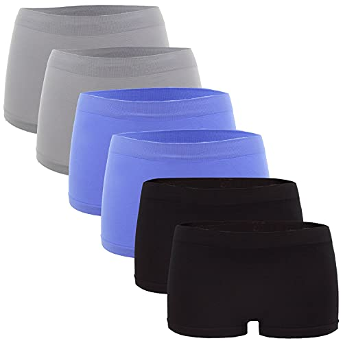 Fabio Farini Damen Panties 6er Pack Hipsters Boxershorts nahtlos, Seamless aus weichem Microfaser-Gewebe 2X Hellblau/2x Hellgrau/2x Schwarz XXL-3XL (44/46)