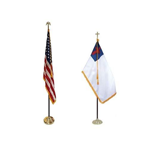 3x5' Christian Indoor Flag with Fringe, Made in USA (Flag & Hardware Set w/Matching US Set)