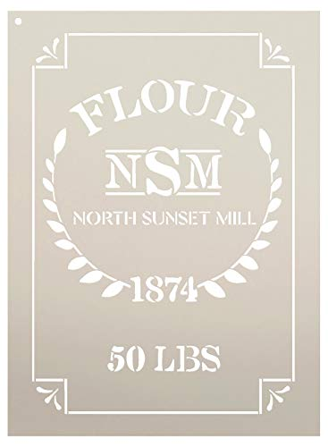 """Feed Sack Art Stencil by StudioR12 - North Sunset Mill Flour   Reusable Mylar Template   Use to Paint Wood Signs - Fabric - Furniture - Feed Sack - DIY Country Decor - Select Size (17"""" x 24"""")"""