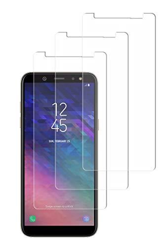 WEOFUN Panzerglas Panzerglasfolie kompatibel mit Samsung Galaxy A6 2018, [3 Stück] Anti-Öl, Anti-Fingerprint und Anti-Kratzen Displayschutzfolie, Ultra Dünn Schutzfolie Glasfolie