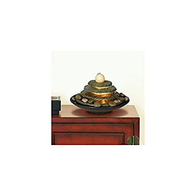 """Lamps Plus Pyramid Zen Indoor Table-Top Water Fountain with Light 10"""" High 4 Tiered Feng Shui Ball for Table Desk Office Home Bedroom Relaxation - John Timberland"""
