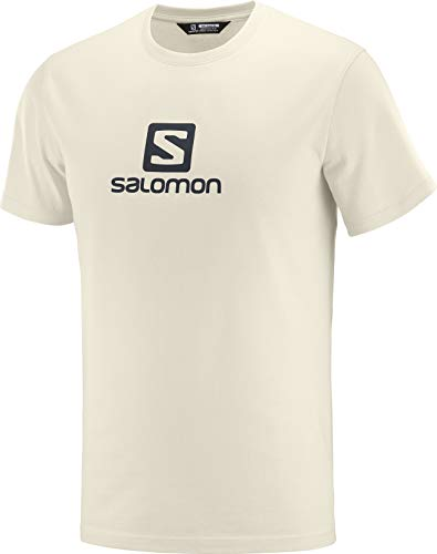 Salomon Coton Logo SS tee M Camiseta de Manga Corta, Hombre, Beige/Gris (Rainy Day/Ebony)