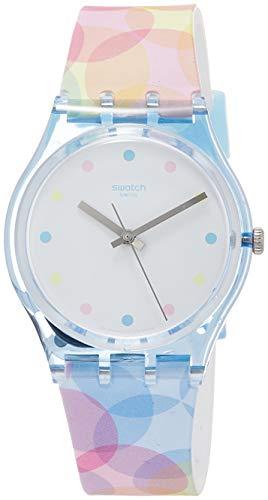 Swatch Damen Analog Quarz Uhr mit Silikon Armband GS159