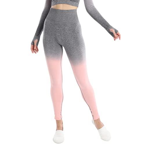 QTJY Medias Deportivas al Aire Libre para Mujer, Pantalones de Yoga con gradiente de Gimnasio, Flexiones, Ejercicio, sentadilla, Estiramiento, Cintura Alta, Pantalones para Correr E L