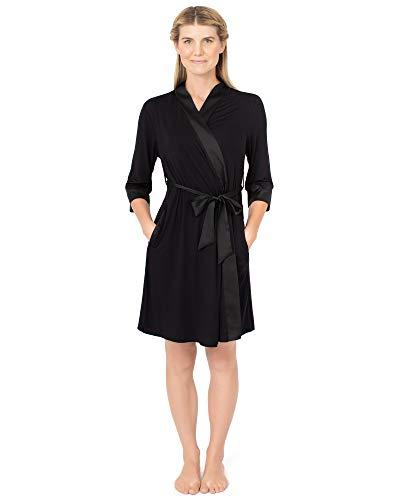Kindred Bravely Emmaline Maternity & Nursing Robe Hospital Bag/Delivery Essential (Black, Large, X-Large)